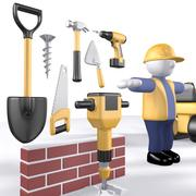 Construction worker stickman & tools 3d model