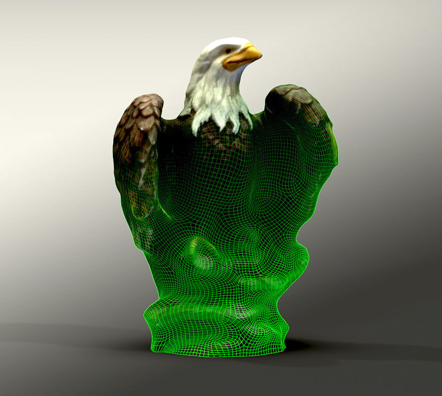 Eagle Textured 2 qualities royalty-free 3d model - Preview no. 3