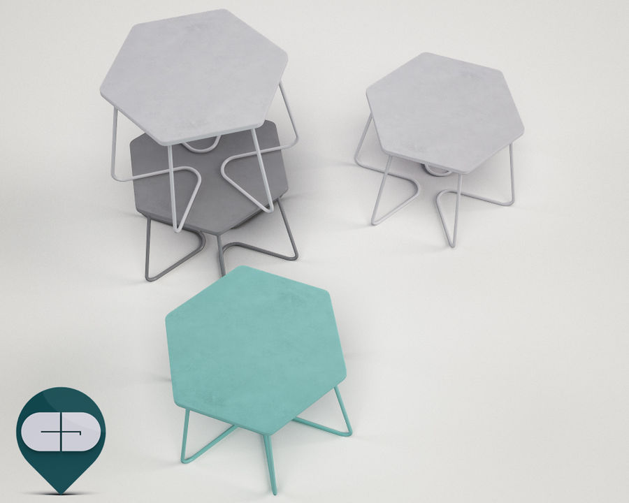table Hexagon Bijzettafel royalty-free 3d model - Preview no. 2