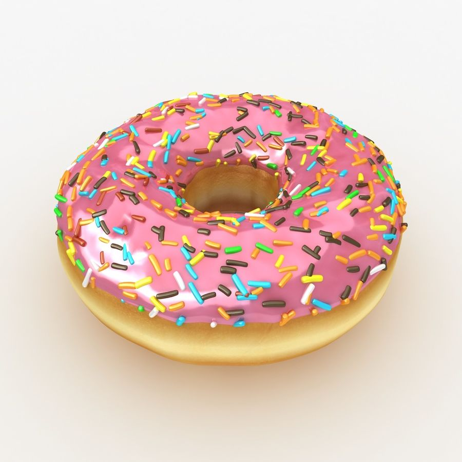 Rosa donut royalty-free modelo 3d - Preview no. 2