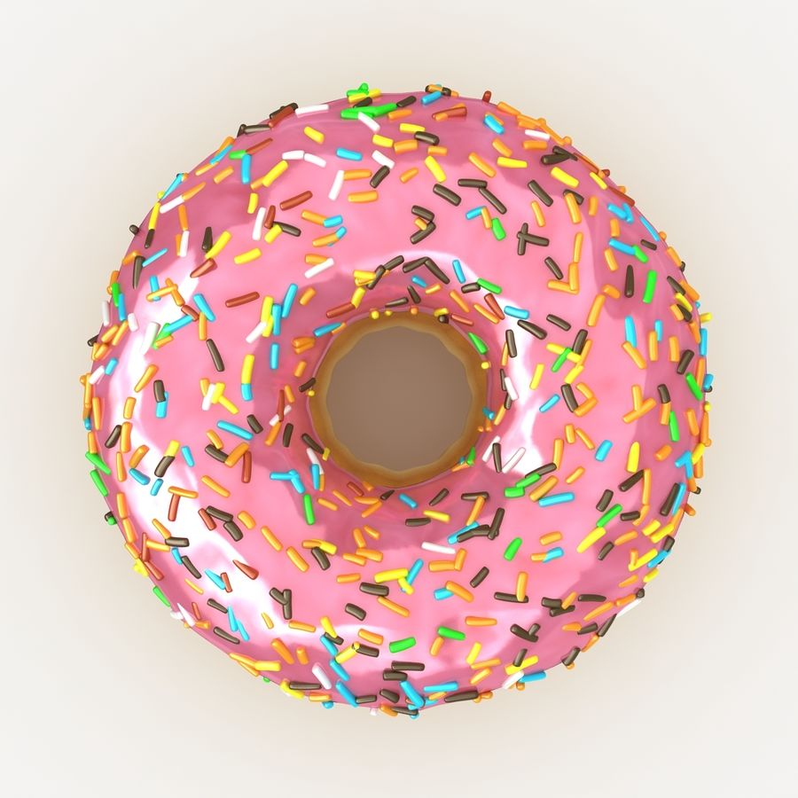 Donut Pink royalty-free 3d model - Preview no. 9