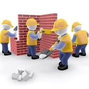 Construction worker stickman animated 3d model