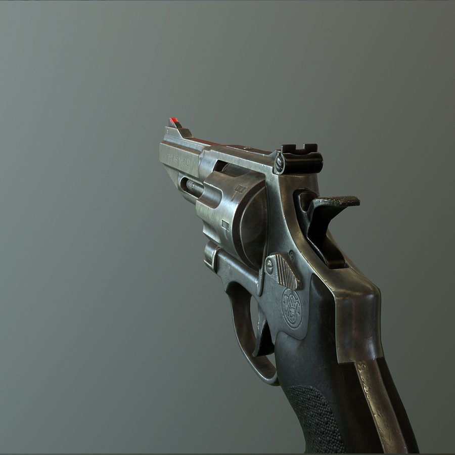 Revolver Magnum 357 royalty-free 3d model - Preview no. 3