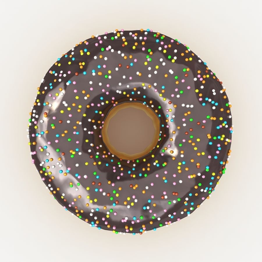 Chocolate Donut royalty-free 3d model - Preview no. 8