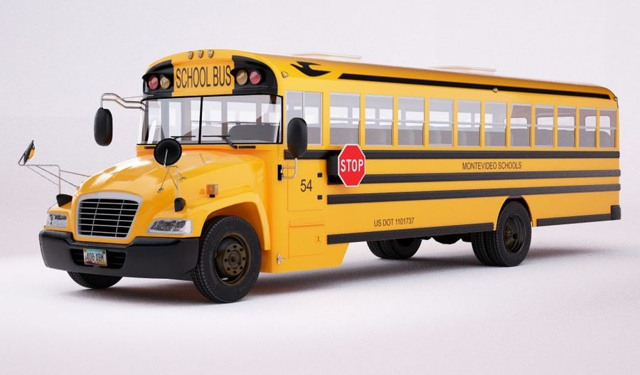 School bus American royalty-free 3d model - Preview no. 1