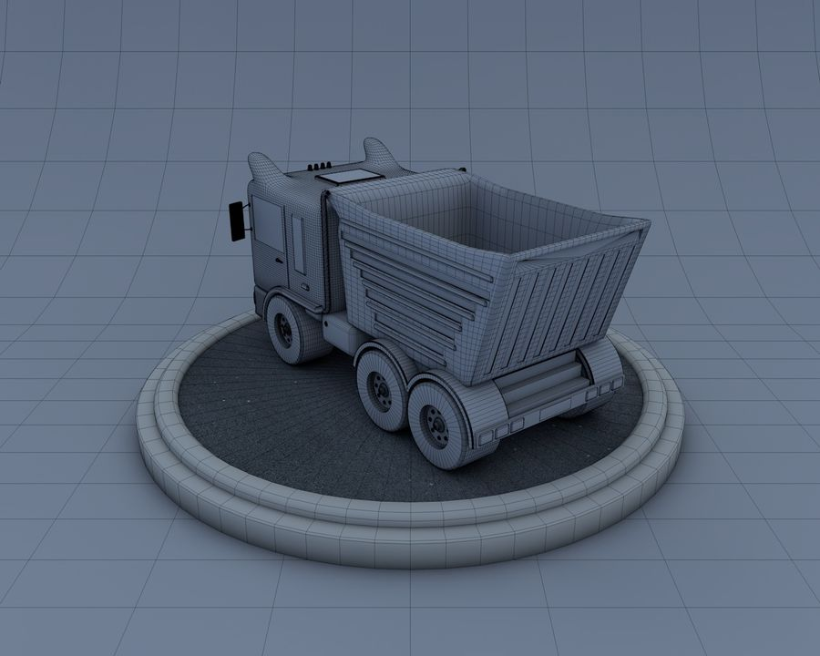 Cartoon truck royalty-free 3d model - Preview no. 6