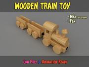 Trem de madeira LowPoly 3d model