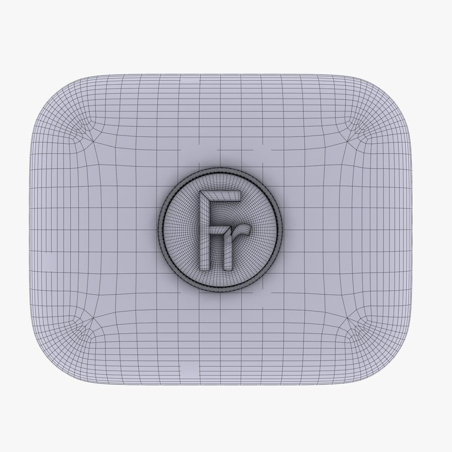 France Currency Icon royalty-free 3d model - Preview no. 5
