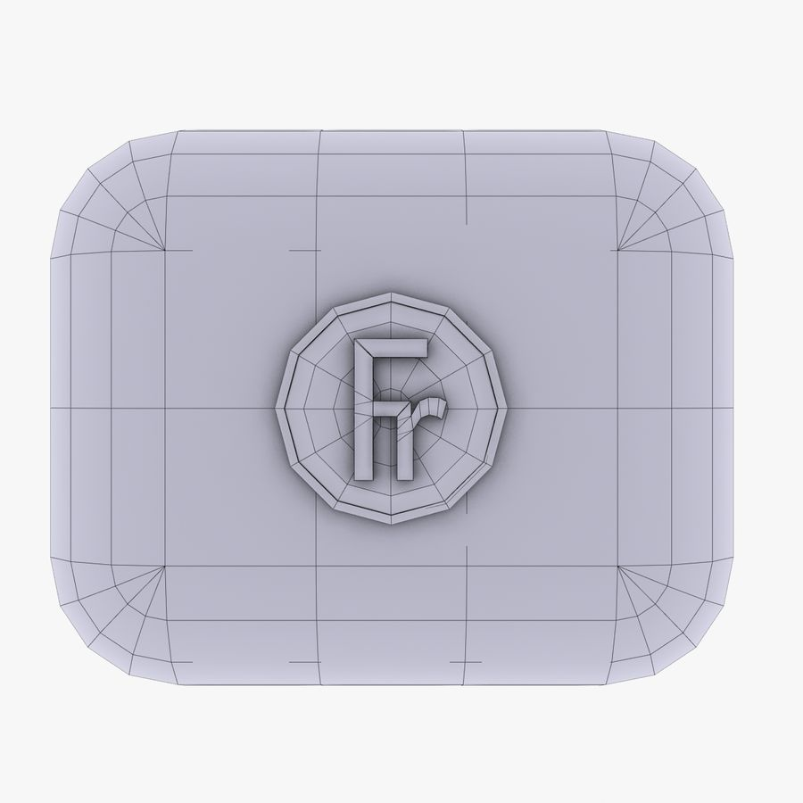 France Currency Icon royalty-free 3d model - Preview no. 4