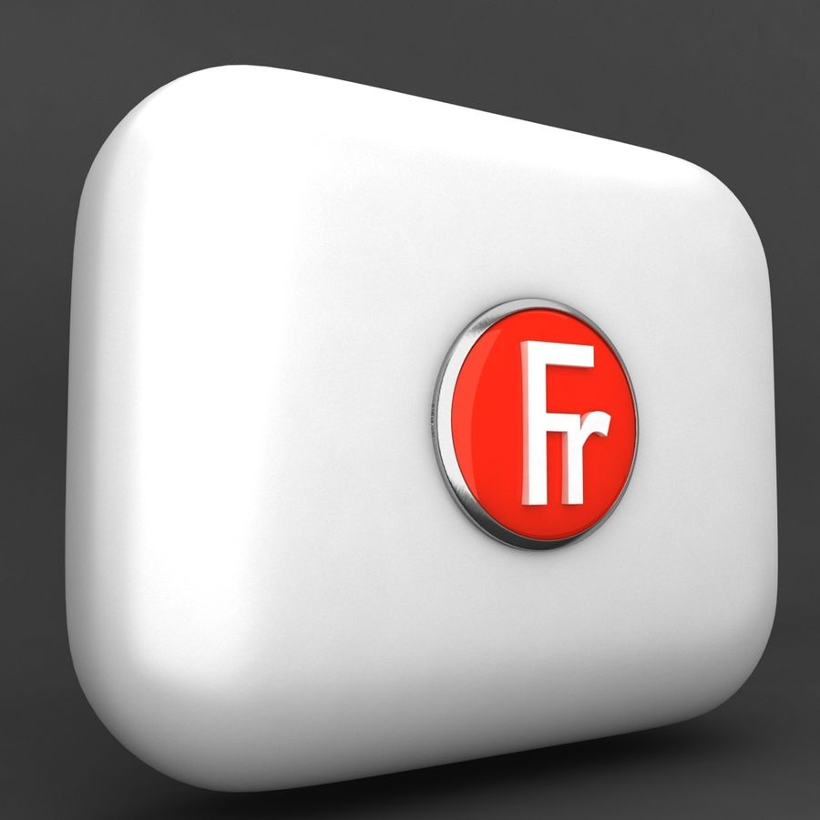 France Currency Icon royalty-free 3d model - Preview no. 2