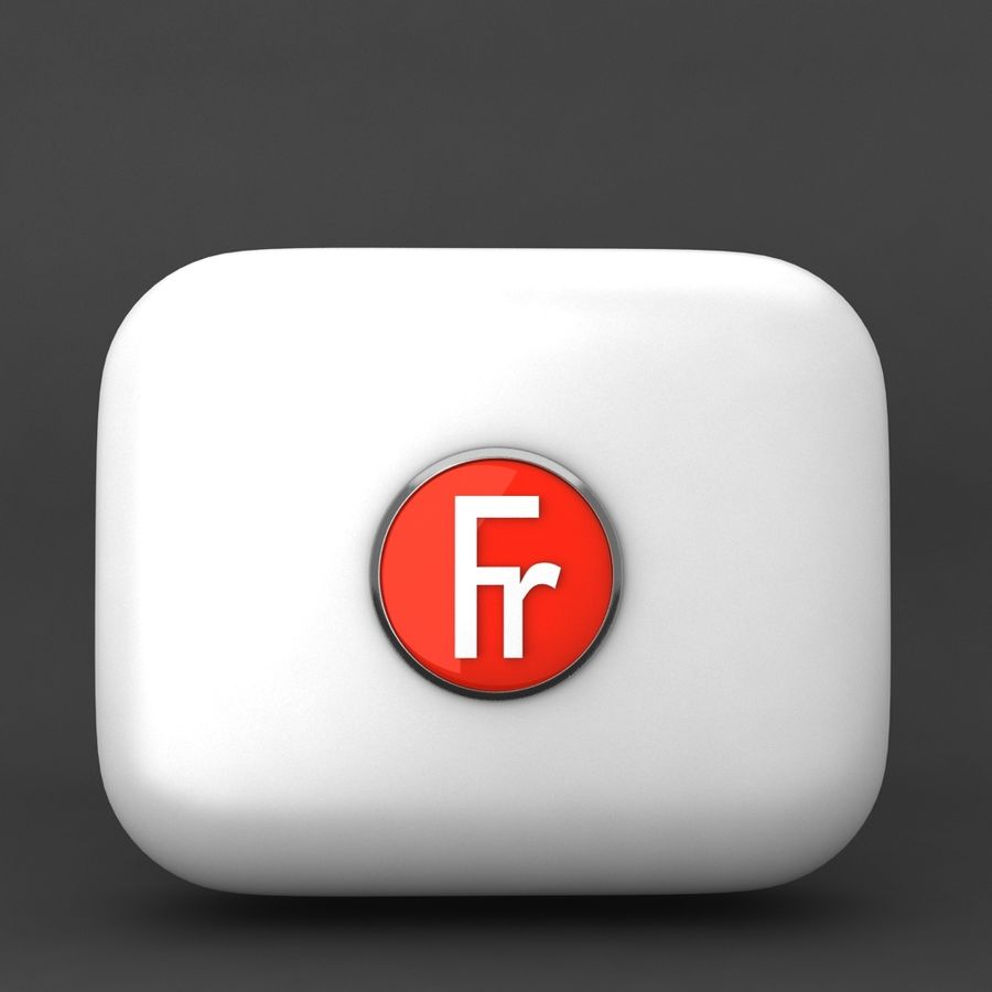 France Currency Icon royalty-free 3d model - Preview no. 1