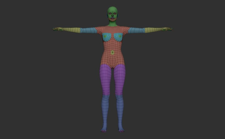 Malla Base Femenina royalty-free modelo 3d - Preview no. 6