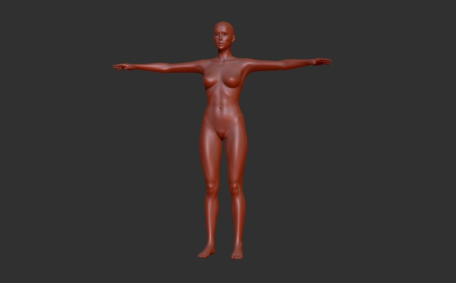 Malla Base Femenina royalty-free modelo 3d - Preview no. 2