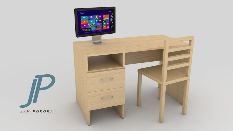 pc table - monitor(1) royalty-free 3d model - Preview no. 1