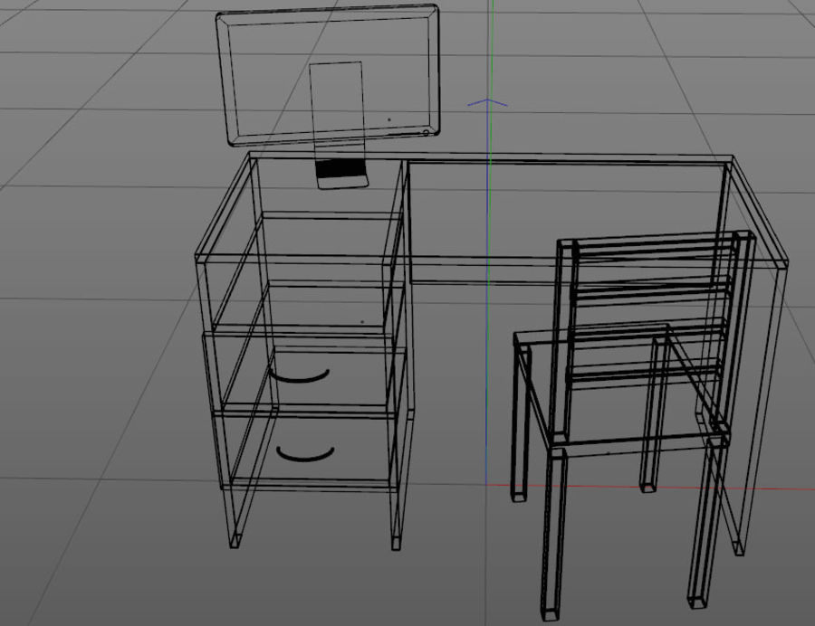 pc table - monitor(1) royalty-free 3d model - Preview no. 5