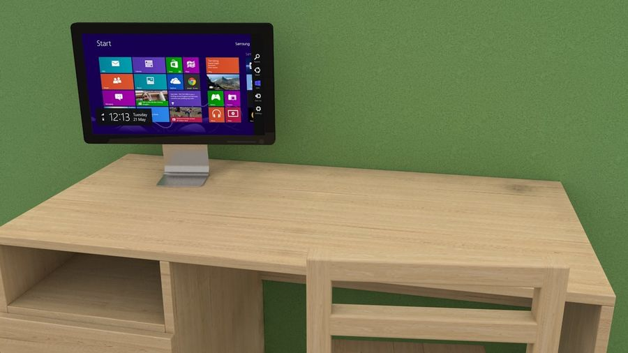 pc table - monitor(1) royalty-free 3d model - Preview no. 3
