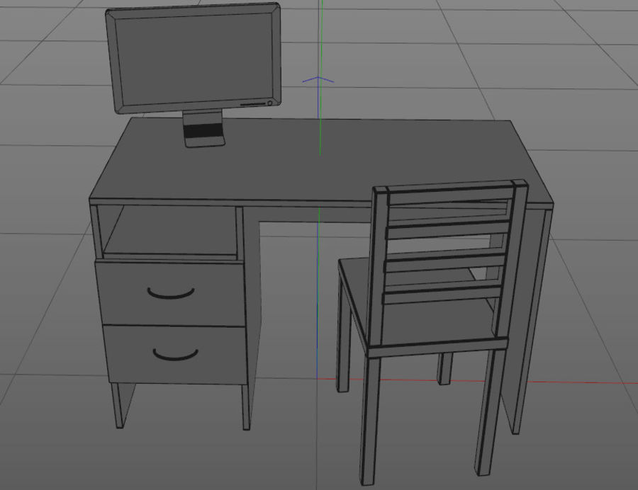 pc table - monitor(1) royalty-free 3d model - Preview no. 4