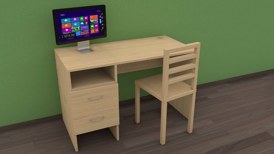 pc table - monitor(1) royalty-free 3d model - Preview no. 2