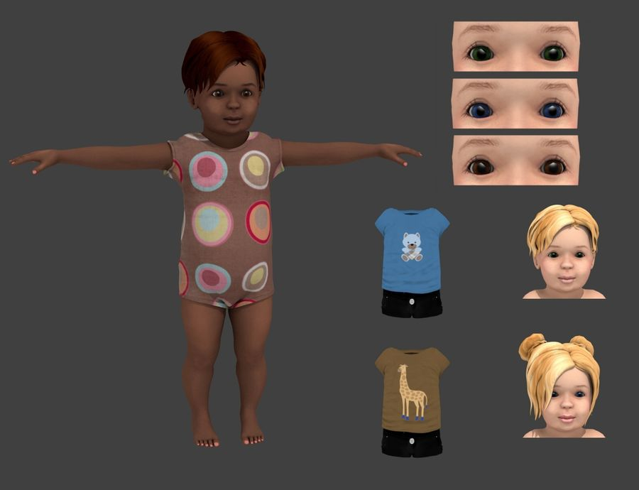 Toddler Rigged with clothes royalty-free 3d model - Preview no. 1
