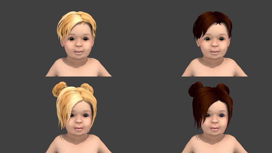 Toddler Rigged with clothes royalty-free 3d model - Preview no. 2