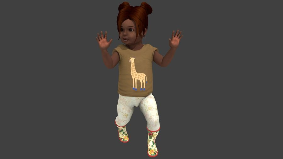 Toddler Rigged with clothes royalty-free 3d model - Preview no. 11