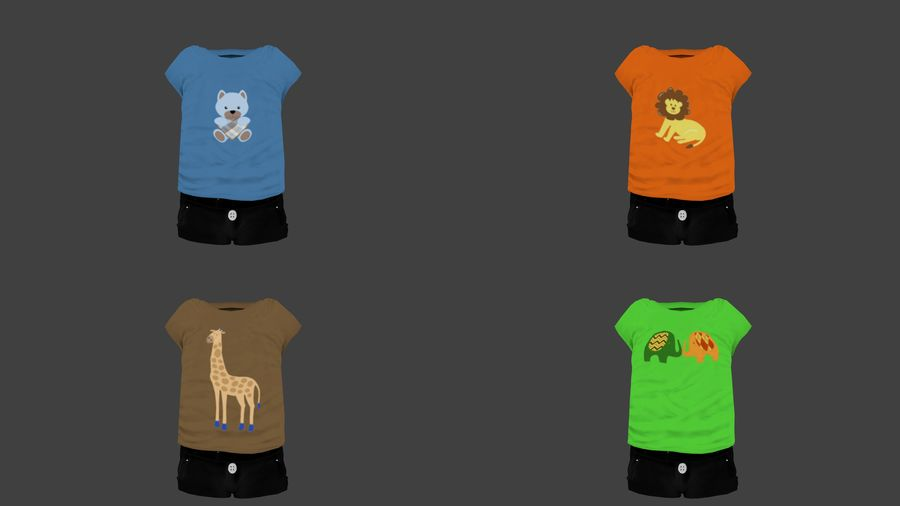 Toddler Rigged with clothes royalty-free 3d model - Preview no. 7