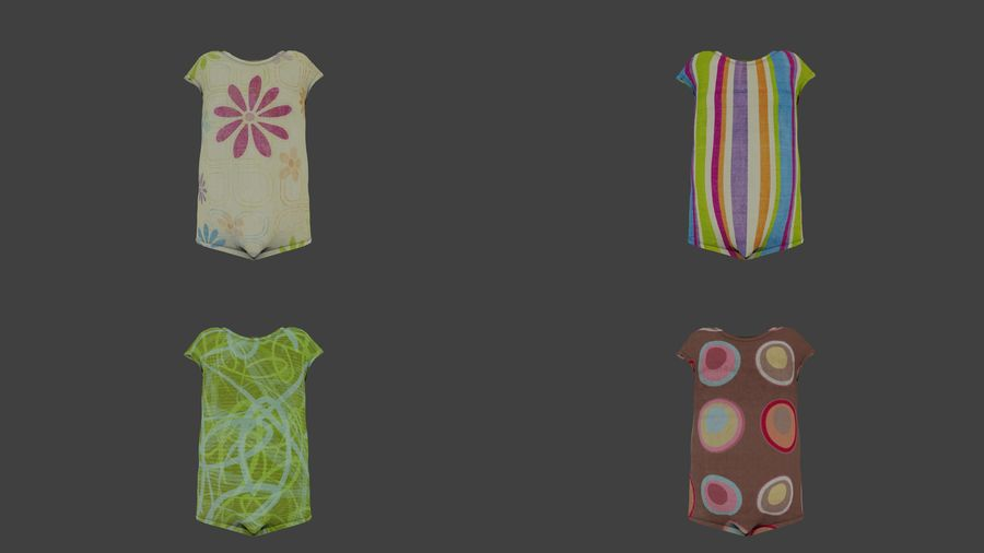 Toddler Rigged with clothes royalty-free 3d model - Preview no. 6