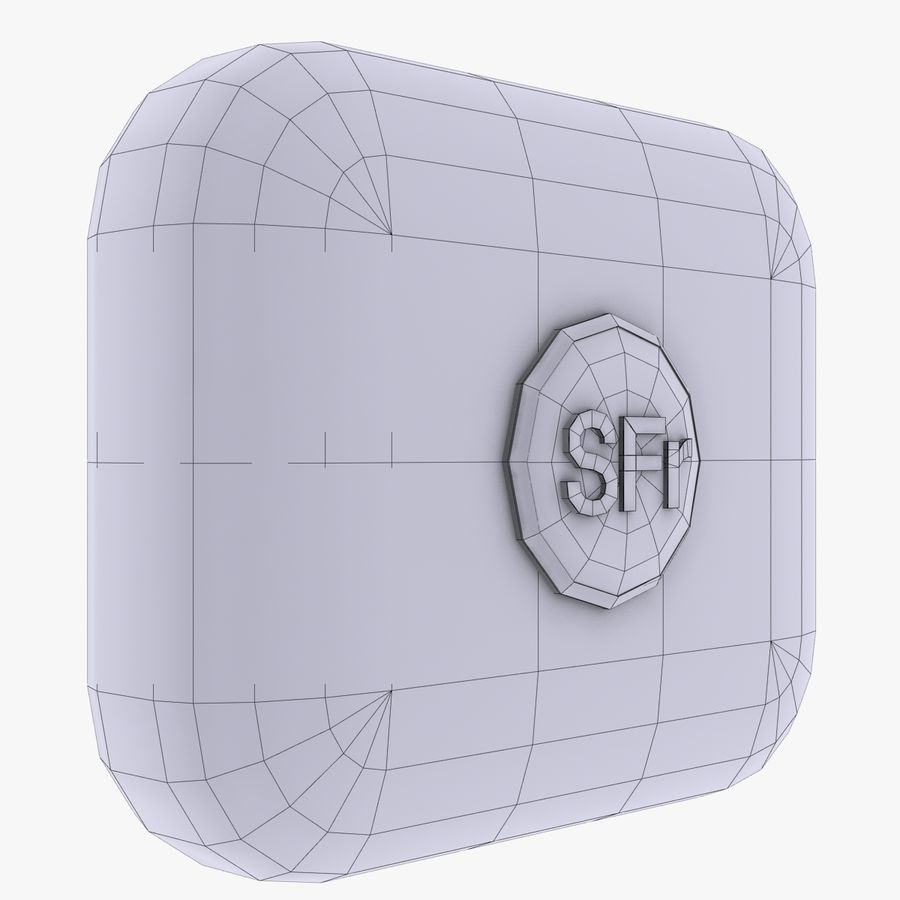Switzerland Franc currency icon royalty-free 3d model - Preview no. 3