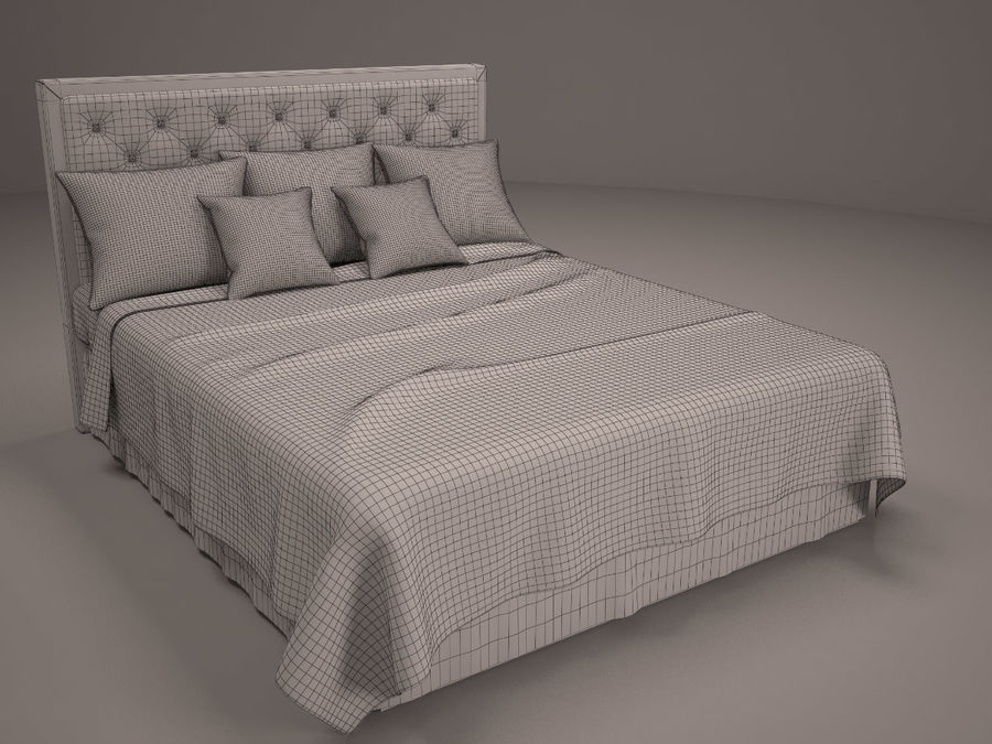 Bed and bedcloth royalty-free 3d model - Preview no. 6