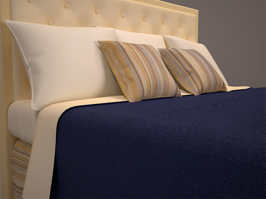 Bed and bedcloth royalty-free 3d model - Preview no. 5