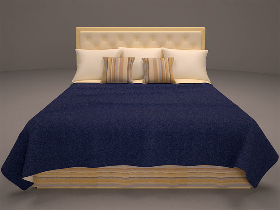 Bed and bedcloth royalty-free 3d model - Preview no. 2
