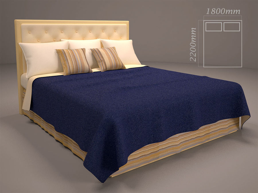 Bed and bedcloth royalty-free 3d model - Preview no. 1