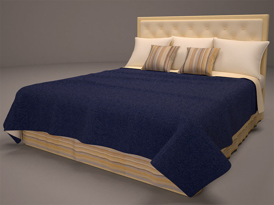 Bed and bedcloth royalty-free 3d model - Preview no. 4