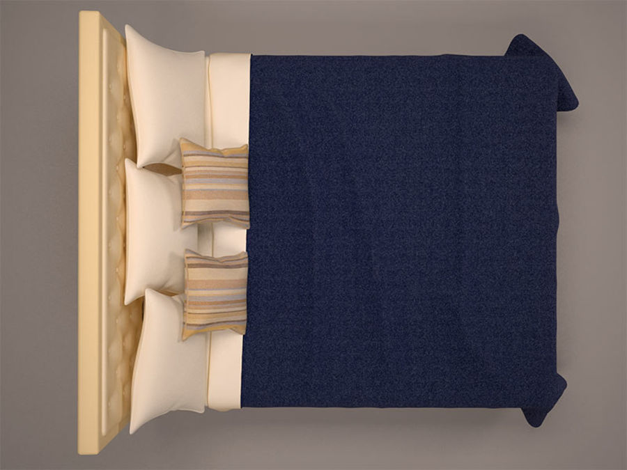 Bed and bedcloth royalty-free 3d model - Preview no. 3