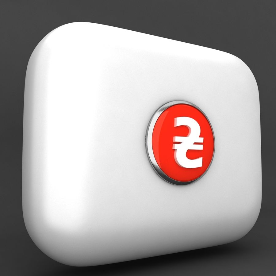 Ukraine Hryvnia Currency Icon royalty-free 3d model - Preview no. 2