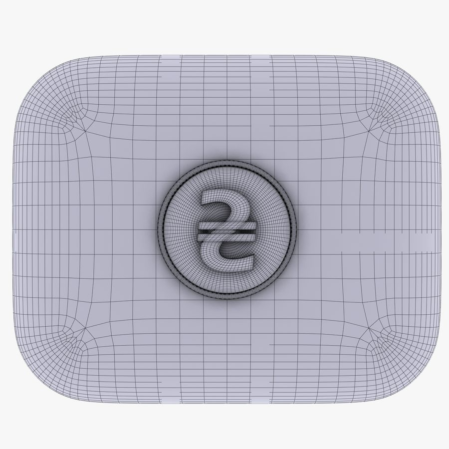Ukraine Hryvnia Currency Icon royalty-free 3d model - Preview no. 6