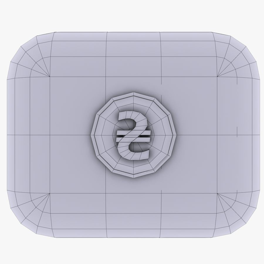 Ukraine Hryvnia Currency Icon royalty-free 3d model - Preview no. 4