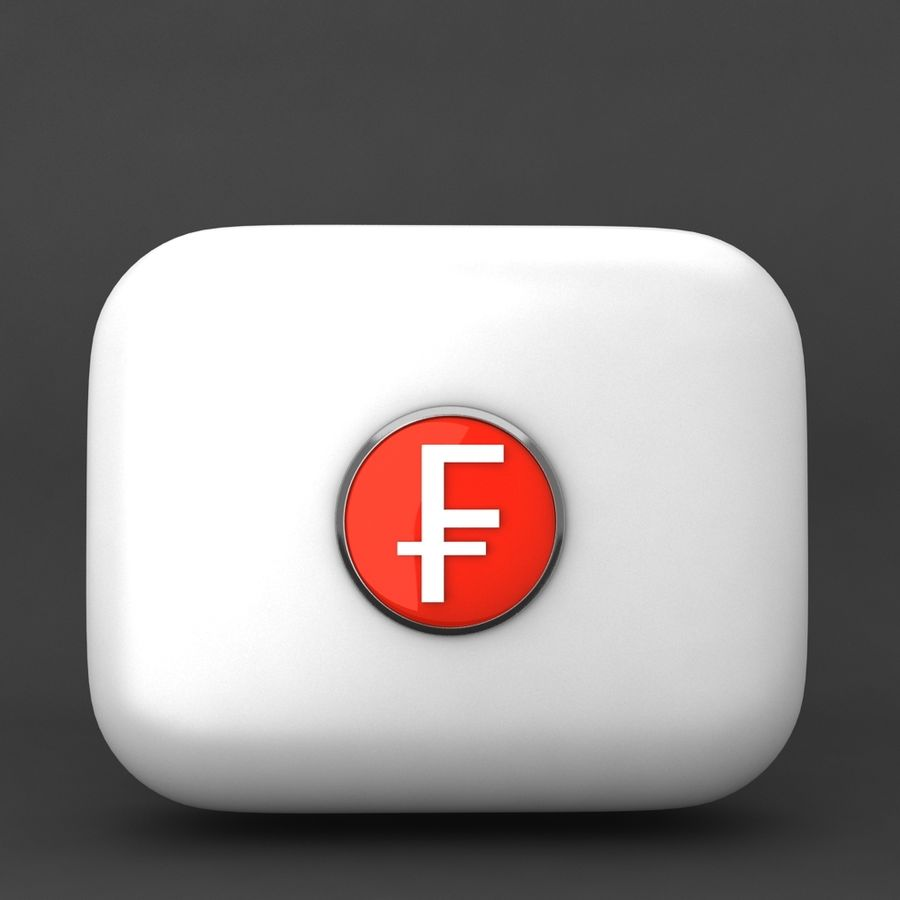 Switzerland Franc Icon 2 royalty-free 3d model - Preview no. 1