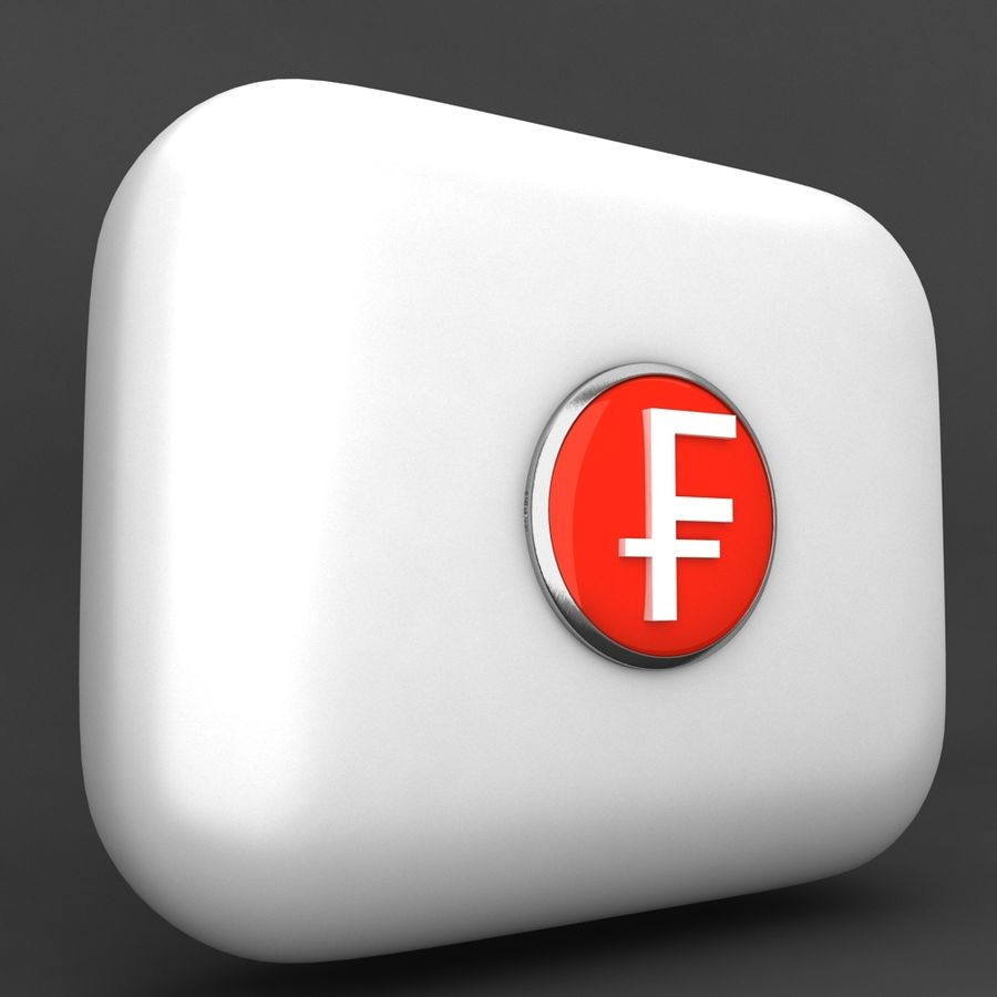 Switzerland Franc Icon 2 royalty-free 3d model - Preview no. 2