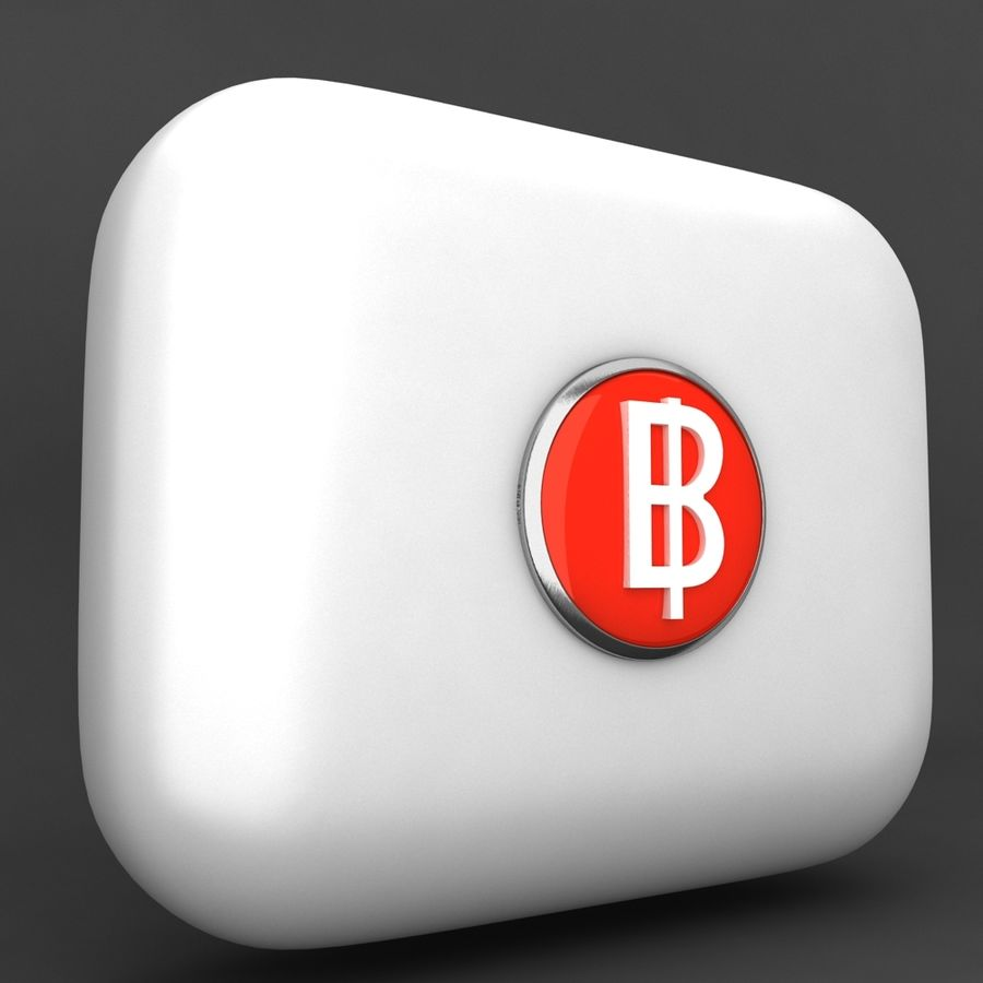 Thailand Baht currency Icon royalty-free 3d model - Preview no. 2