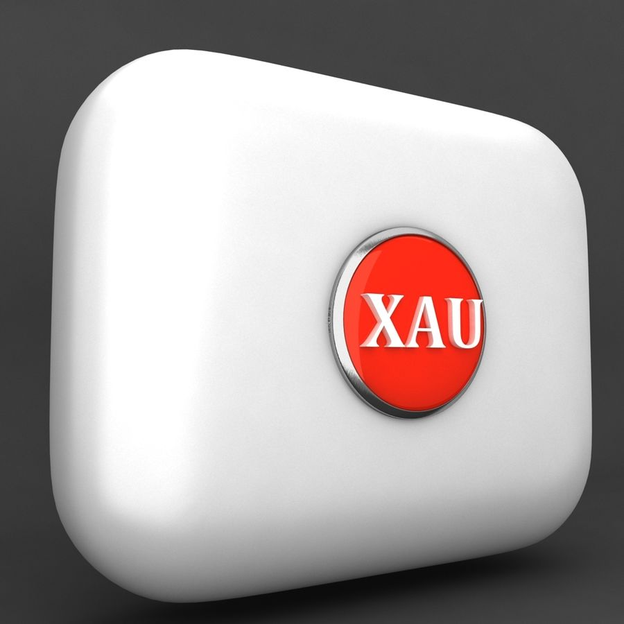 XAU Gold currency Icon royalty-free 3d model - Preview no. 2