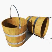 Seau en bois 3d model