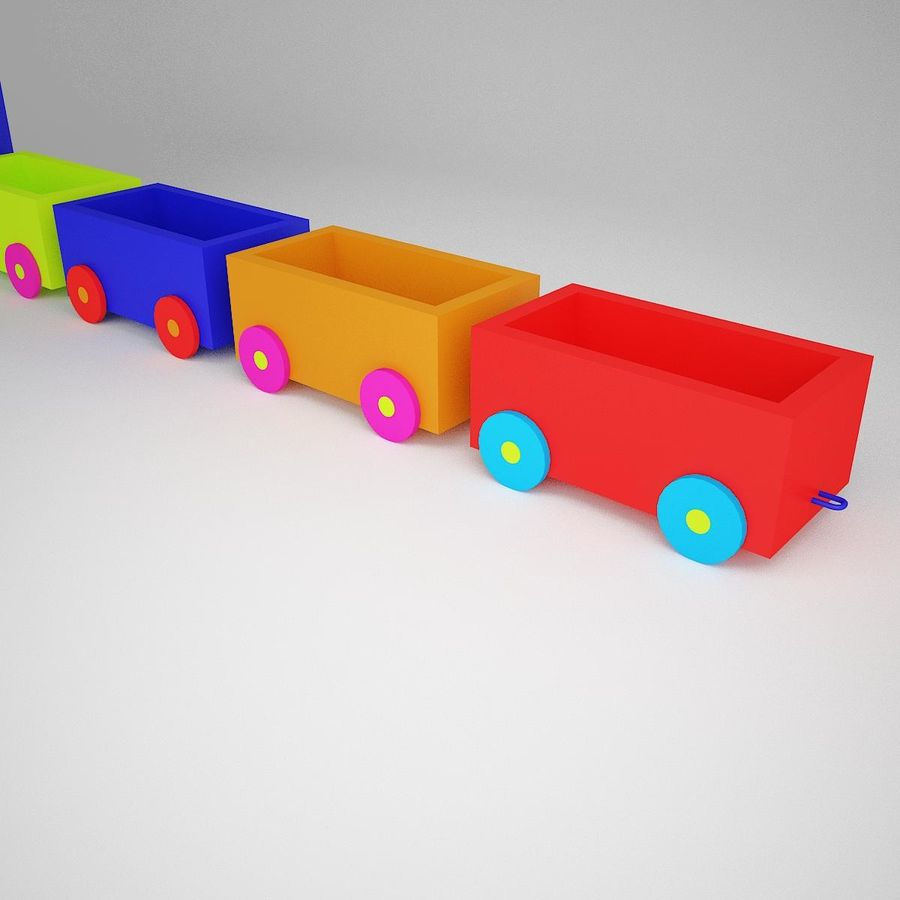 玩具火车 royalty-free 3d model - Preview no. 3