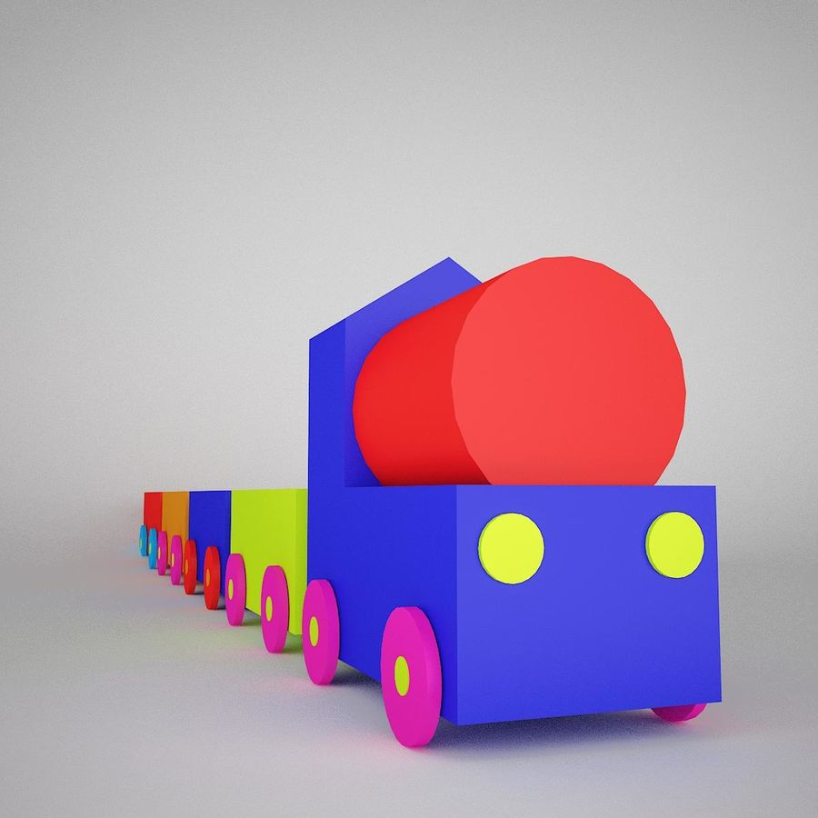 玩具火车 royalty-free 3d model - Preview no. 2