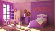 Habitación interior para niñas modelo 3d