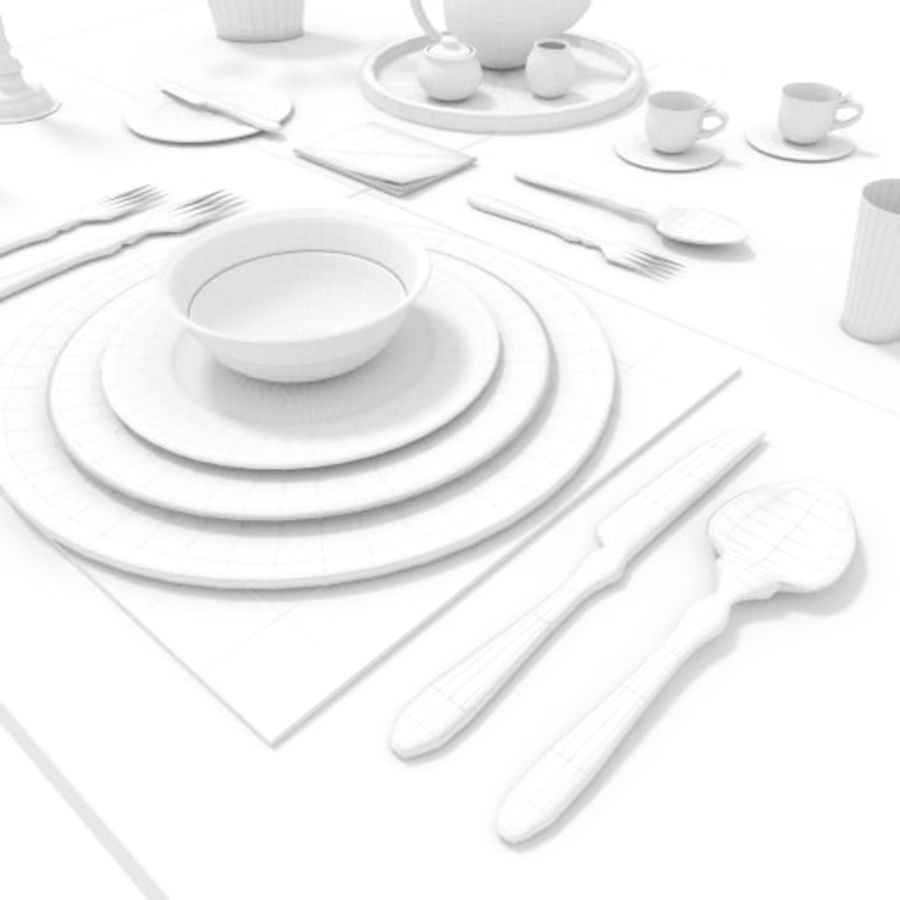 Cutlery Dinner Tea royalty-free 3d model - Preview no. 11