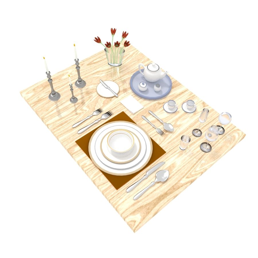 Cutlery Dinner Tea royalty-free 3d model - Preview no. 1