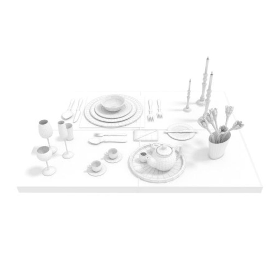 Cutlery Dinner Tea royalty-free 3d model - Preview no. 7