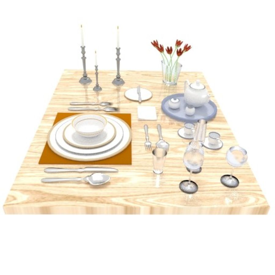 Cutlery Dinner Tea royalty-free 3d model - Preview no. 3