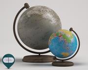 두 개의 지구본 3d model